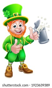 A Leprechaun St Patricks Day cartoon character mascot holding a drink and giving a thumbs up