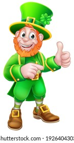 A Leprechaun St Patricks Day cartoon character mascot giving a thumbs up and pointing