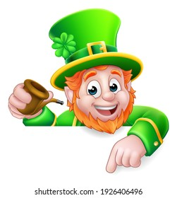 A Leprechaun St Patricks Day cartoon character holding a pipe peeking over a sign and pointing at it.