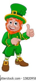 A Leprechaun St Patricks Day Irish cartoon character pointing and doing a thumbs up
