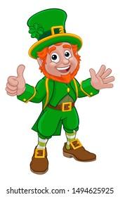 A Leprechaun St Patricks Day Irish cartoon character doing a thumbs up and waving