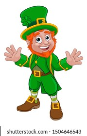 A Leprechaun St Patricks Day Irish cartoon character waving