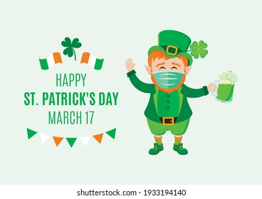 Leprechaun wearing medical mask on face to prevent Covid-19 illustration. Leprechaun with protective surgical mask holding mug of green beer icon. Cute leprechaun with beer and disposable mask icon