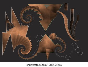 lesbian love, coppery color, dark background,illustration, spirals twist,  abstract expressionism, abstract surrealism, digital art, abstract art,