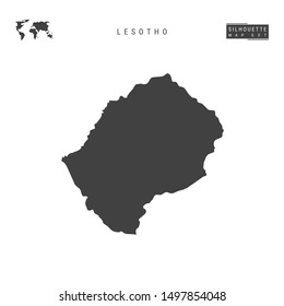 Lesotho Blank Map Isolated on White Background. High-Detailed Black Silhouette Map of Lesotho.