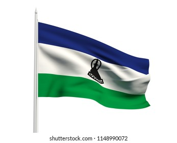 Lesotho flag floating in the wind with a White sky background. 3D illustration.
