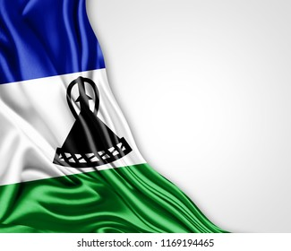Lesotho flag of silk with copyspace for your text or images and white background-3D illustration