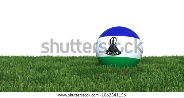 Lesotho flag soccer ball lying in grass, isolated on white background. 3D Rendering, Illustration.