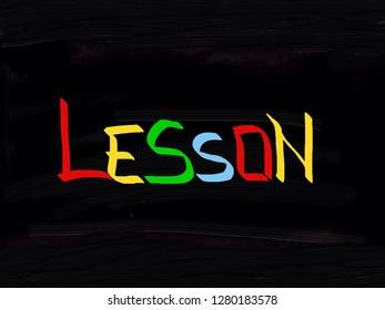 Lesson handwritten on blackboard