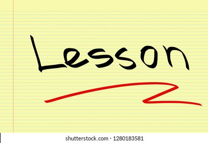 Lesson handwritten on notebook paper