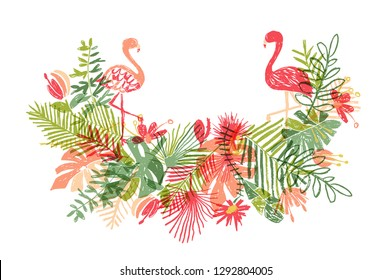 Lets flamingle, hand drawn flamingo and tropical flower leaf bouquet, floral composition and exotic bird, illustration isolated on white background. Botanical art in doodle style