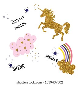 Let's get magical sparkle  shine and unicorn slogan t shirt print design.Sweet baby tee.