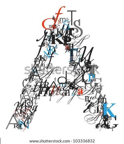 Letter A Alphabet Different Font Letters Stock Illustration