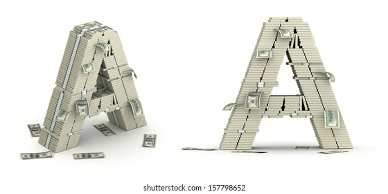Letter A, alphabet from many 100 dollars bills paks on white background