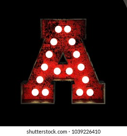 Letter A. Broadway Style Light Bulb Font made of rusty metal frame. 3d Rendering isolated on Black Background