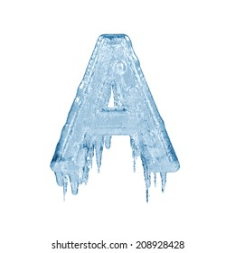 Letter A. Ice font isolated on white background. Alphabet.
