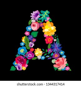 """The letter """"A"""" made of flowers on a black background. The letter of the English alphabet. Bright floral print. Great for T-shirts, cards and more."""