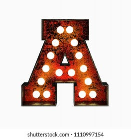 Letter A. Realistic Rusty Light Bulb Font in Metal Frame. 3d Rendering Illustration isolated on White Background.