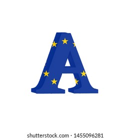 Letter from the Alphabet printed with the Flag of the European Economic Community
