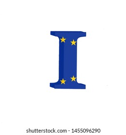 Letter I from the Alphabet printed with the Flag of the European Economic Community