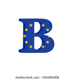 Letter B from the Alphabet printed with the Flag of the European Economic Community