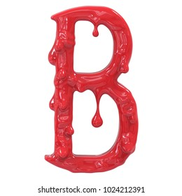 Letter B. Bloody  english halloween alphabet.3D Rendering.