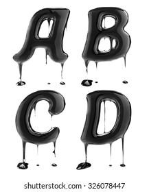 Letter A B C D. Oil alphabet isolated over white. Black liquid splash alphabet.