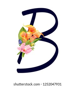 Letter B with hand drawn watercolor bouquet of flowers isolated on white background. Design element for invitations, tattoo, monogram, cypher