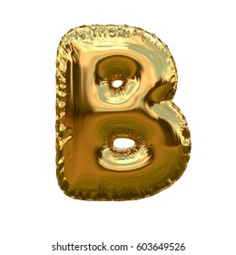 Letter B metallic blue shiny foil party celebration balloon a plain white background. 3D rendering