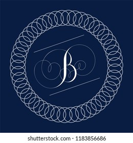 Letter B monogram in calligraphy copperplate style