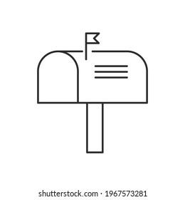 letter box icon outline design illustration black style. isolated on white background