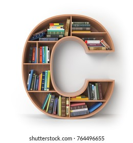 Letter C. Alphabet in the form of shelves with books isolated on white. 3d illustration