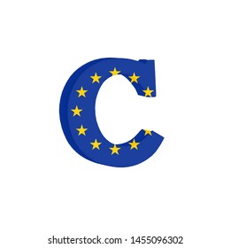 Letter C from the Alphabet printed with the Flag of the European Economic Community