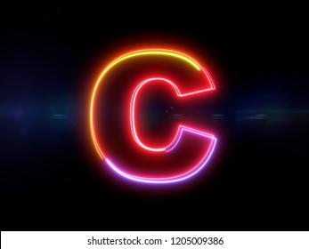 Letter C - colorful glowing outline alphabet symbol on blue lens flare dark background