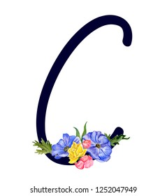 Letter C with hand drawn watercolor bouquet of flowers isolated on white background. Design element for invitations, tattoo, monogram, cypher