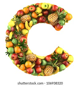 Letter - C made of fruits. Isolated on a white.