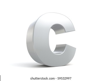 letter C in metal