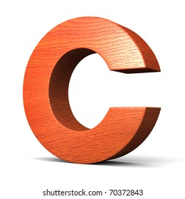 Letter C from redwood alphabet. There is a clipping path