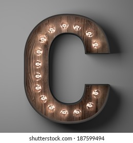 Letter C for sign with light bulbs