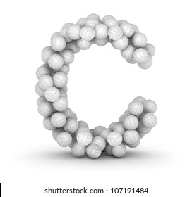 Letter C, from stacked volleyball balls