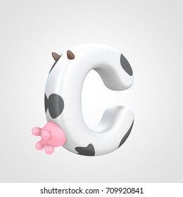 Letter C uppercase imitating cow. 3D render white font with black dots skin pattern, brown horns and pink udder isolated on white background.