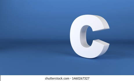 The Letter C in white on a blue background 3d render