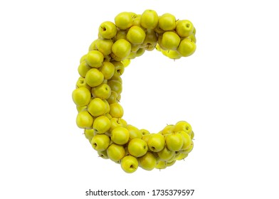 Letter C from yellow apples, 3D rendering isolated on  white background
