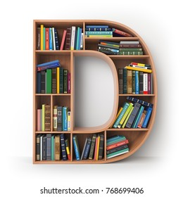 Letter D. Alphabet in the form of shelves with books isolated on white. 3d illustration