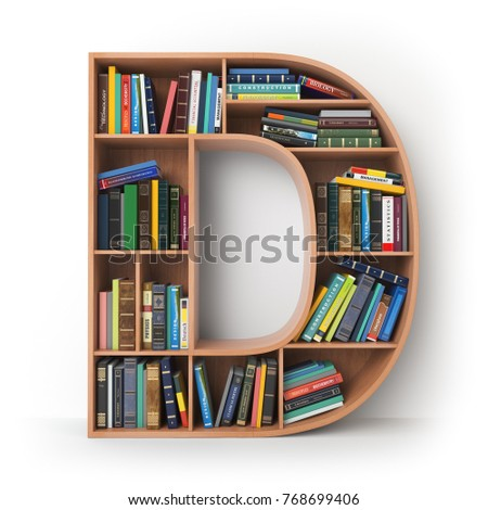Letter D Alphabet In The Form Of Shelves With Books Isolated On White 3d