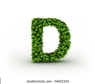Letter D , alphabet of green leaves isolated on white background