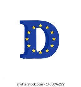 Letter D from the Alphabet printed with the Flag of the European Economic Community