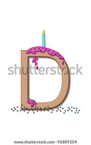 the letter d from the alphabet set happy birthday is tan with cake
