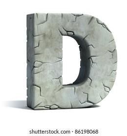 letter D cracked stone 3d font