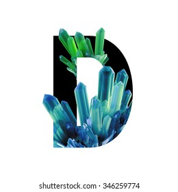 Letter D. Crystals alphabet. Color crystals of natural gemstone amethyst on a white background.